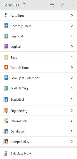 Excel-Android-cilne-Formulas
