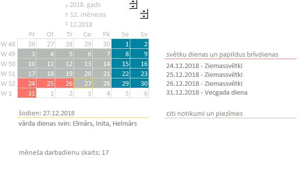 Excel-kalendārs